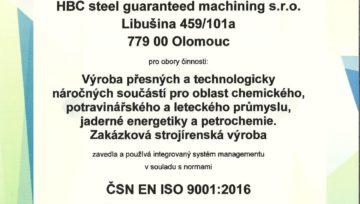 HBC Steel opět certifikován dle ISO 9001:2016 a 14001:2016