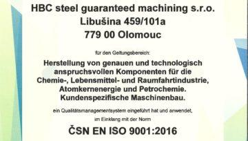 HBC Steel: ISO 9001:2016 und 14001:2016
